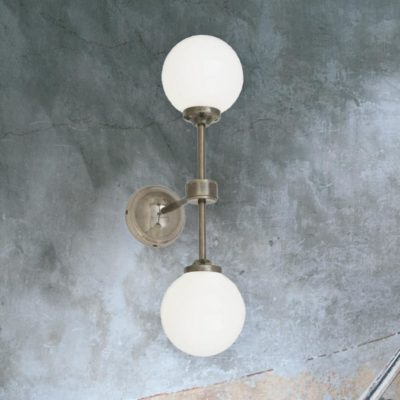 Antique Silver Double Opal Glass Wall Light