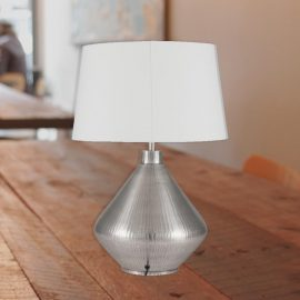 Antique Silver Textured Table Lamp