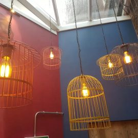 Birdcage Light Fitting,bright coloured industrial cage pendant light