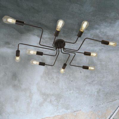 Black 10 Light Flush Mount Spider