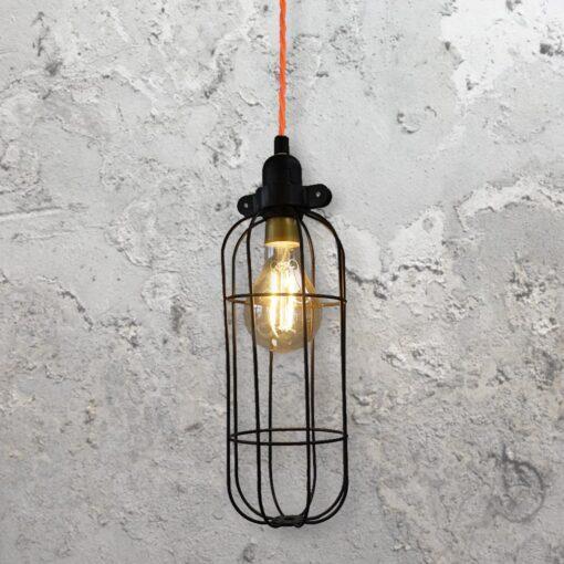 Black CurvedWire Cage Pendant Light