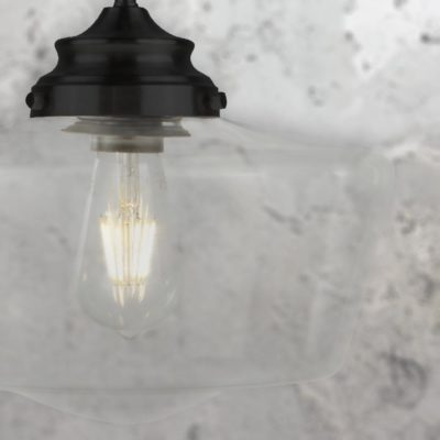 Black Clear Glass Schoolhouse Pendant Light