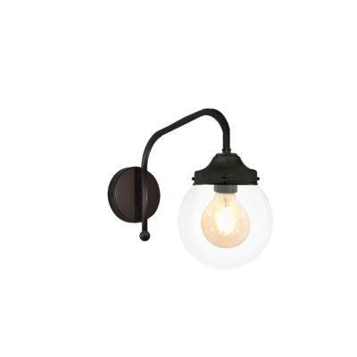 Black Clear Globe Wall Light