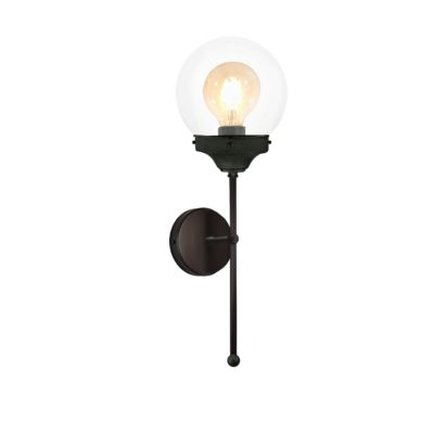 Tall Black Clear Globe Wall Light