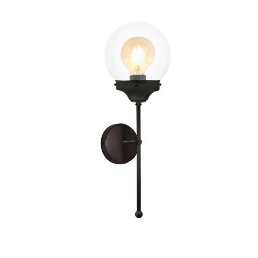 Tall Black Clear Globe Wall Light