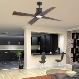 Black Coastal Ceiling Fan Without Light