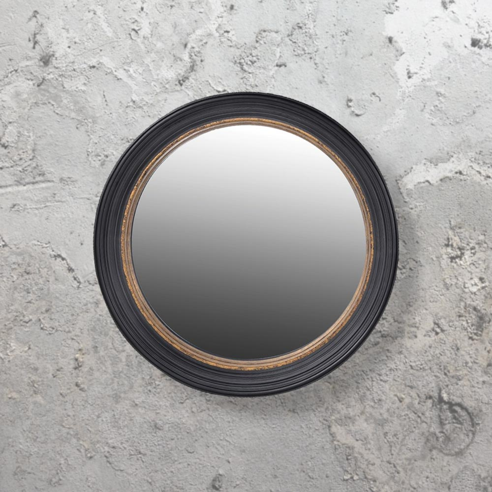 Black convex mirror cl 33649 round mirrors e2 contract for Large round gold mirror