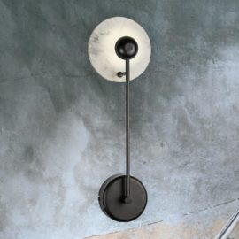 Black Marble Disc Wall Light