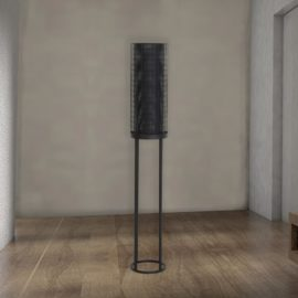 Black Mesh Cylinder Floor Lamp