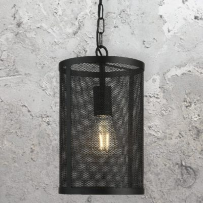 Black Mesh Cylinder Pendant Light