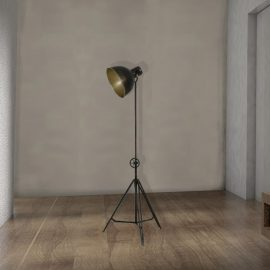 industrial adjustable black metal tripod floor lamp