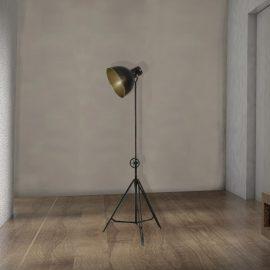 industrial adjustable black metal tripod floor lamp