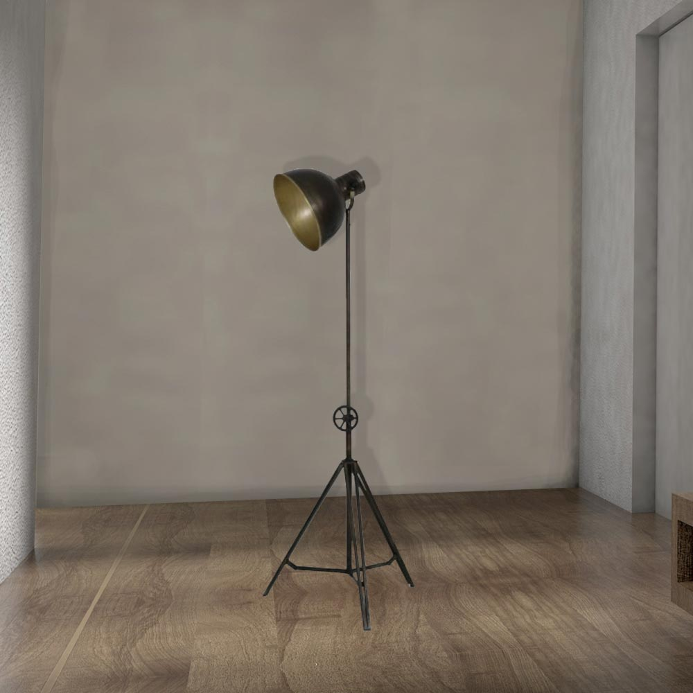 Black metal tripod floor lamp cl 33996 e2 contract lighting uk industrial adjustable black metal tripod floor lamp aloadofball Gallery
