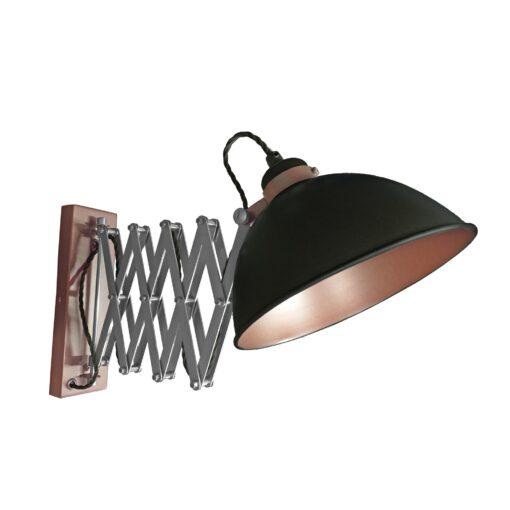 Black Scissor Arm Wall Light Bronze Inner