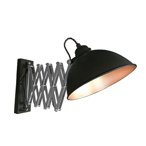 Black Scissor Arm Wall Light Copper Inner