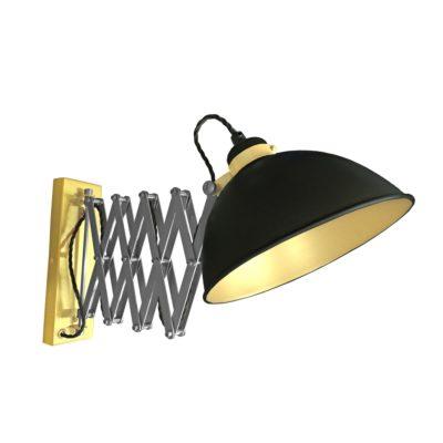 Black Scissor Arm Wall Light Satin Brass Inner