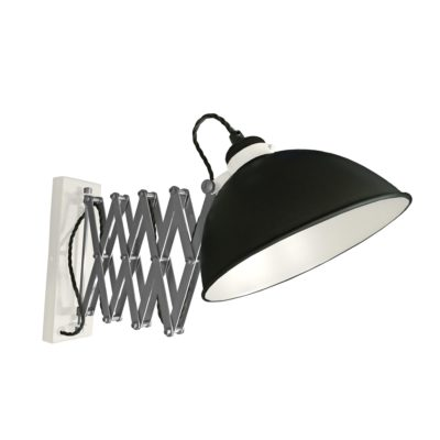 Black Scissor Arm Wall Light White Inner