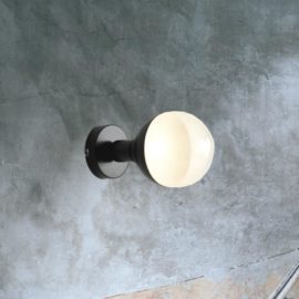 Black Small Opal Globe Wall Light