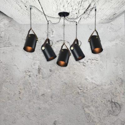 Black Vintage Spider Pendant Lights,cluster of 5 black vintage suspendedshades