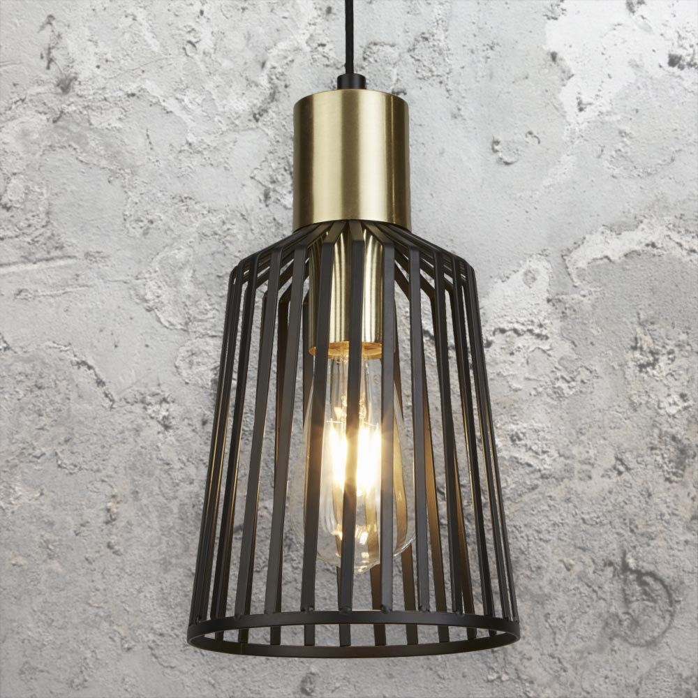 Black and Gold Cage Pendant Light CL-36800 | E2 Contract ...