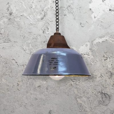 Blue Enamel Pendant Light