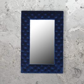 rectangle luxury buttoned navy blue velvet mirror