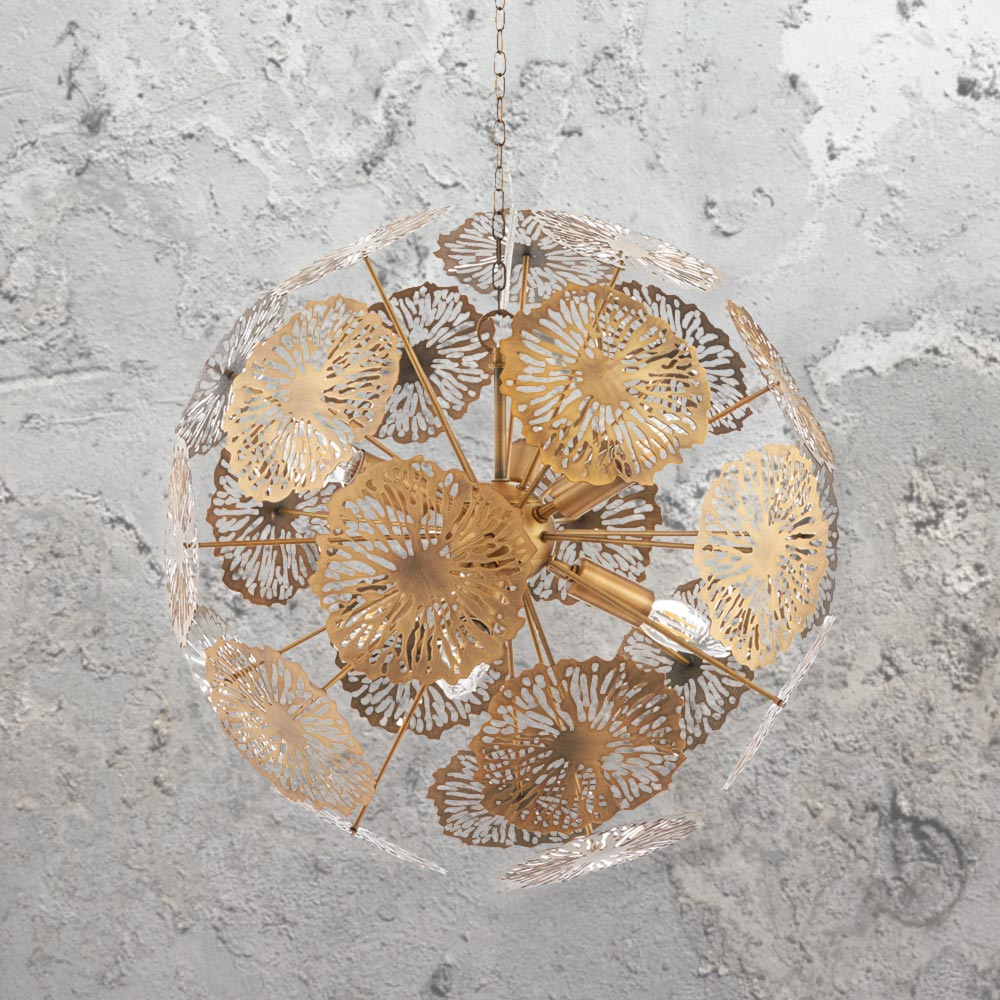 Brass floral pendant light cl 33617 e2 contract lighting uk modern 6 light matt brass floral pendant light fitting aloadofball Image collections