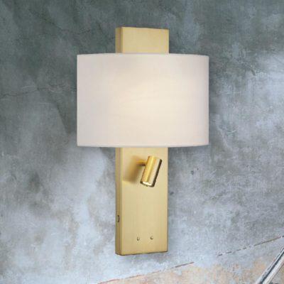 Brass Hotel Wall Light with usb port