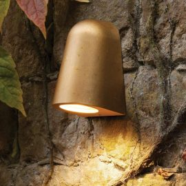 small LED antique brass outdoor downlight wall light fitting