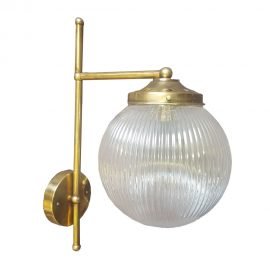 Brass Reeded Glass Wall Light,polished brass reeded glass globe wall light