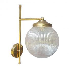 Brass Reeded Glass Wall Light,polished brass reeded glass globe wall light