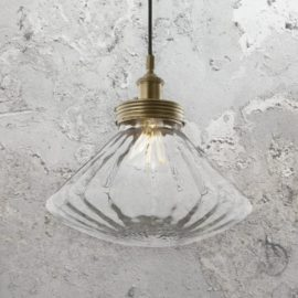 Brass Rippled Glass Pendant Light