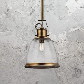 Brass Seeded Glass Pendant Light