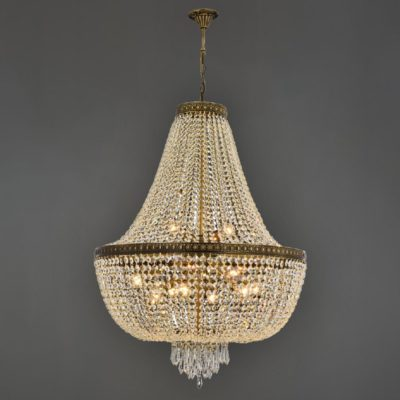 Bronze 11 Light Empire Crystal Feature Chandelier