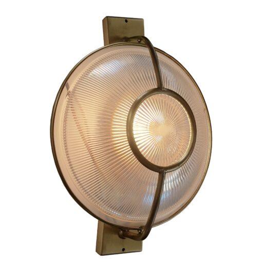 Bronze Prismatic Glass Dish Wall Light