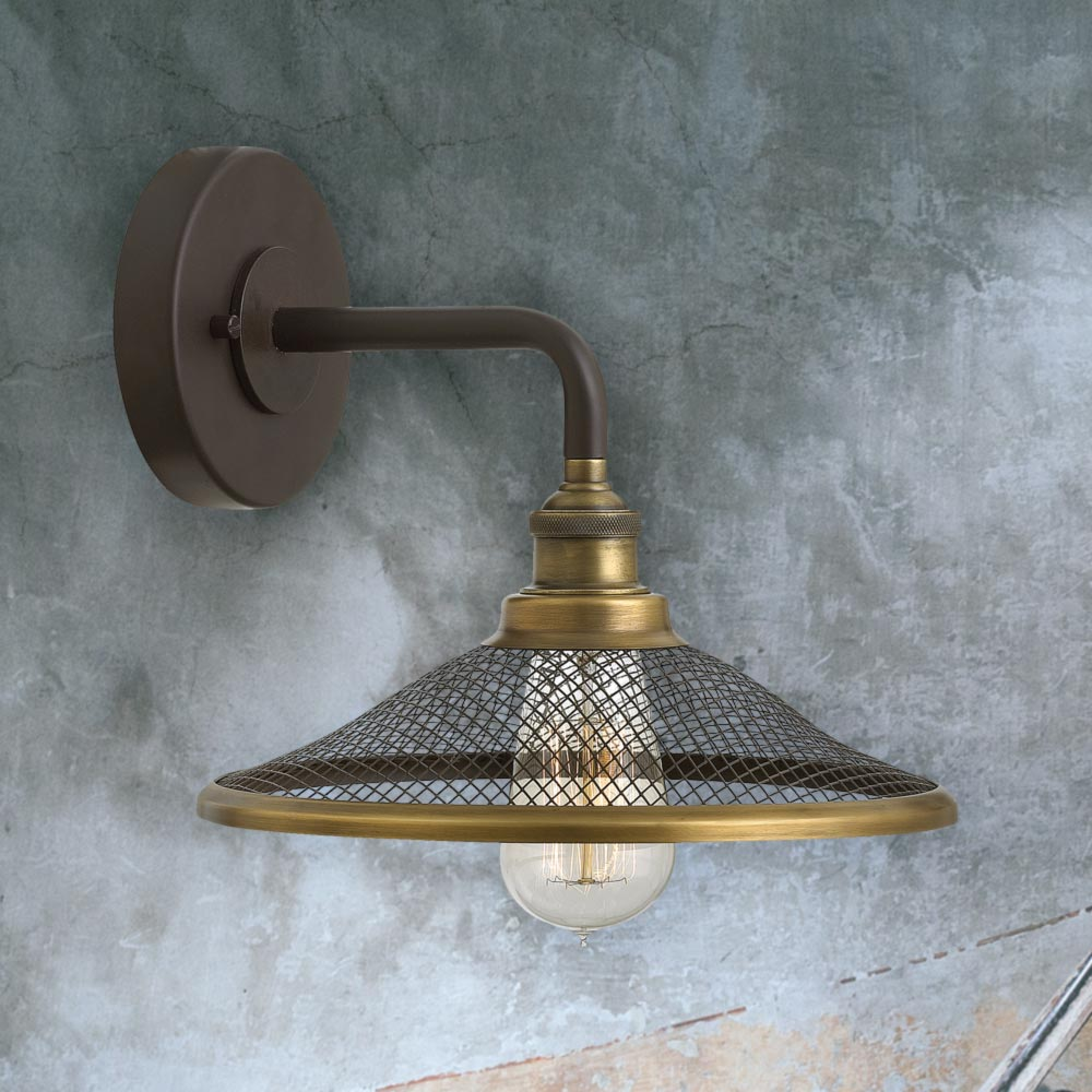 Metal Wire Mesh Wall Light Cl 30370 E2 Contract Lighting Uk Wiring A Lamp Bronze Industrial