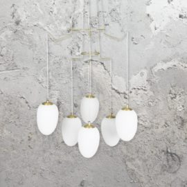 Brushed Brass 6 Light Chandelier