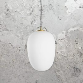 Brushed Brass Opal Pendant Light