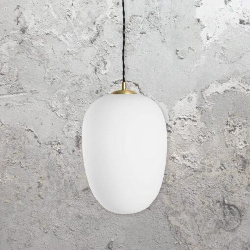 Brushed Brass Opal Pendant Light