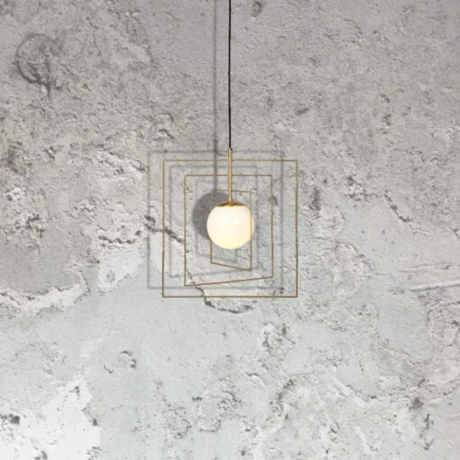 polished brass square wire pendant