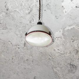 reclaimed white enamel rustic pendant light