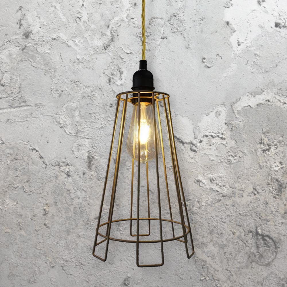 Cage Light Fitting Brass Clb 00522 E2 Contract Lighting