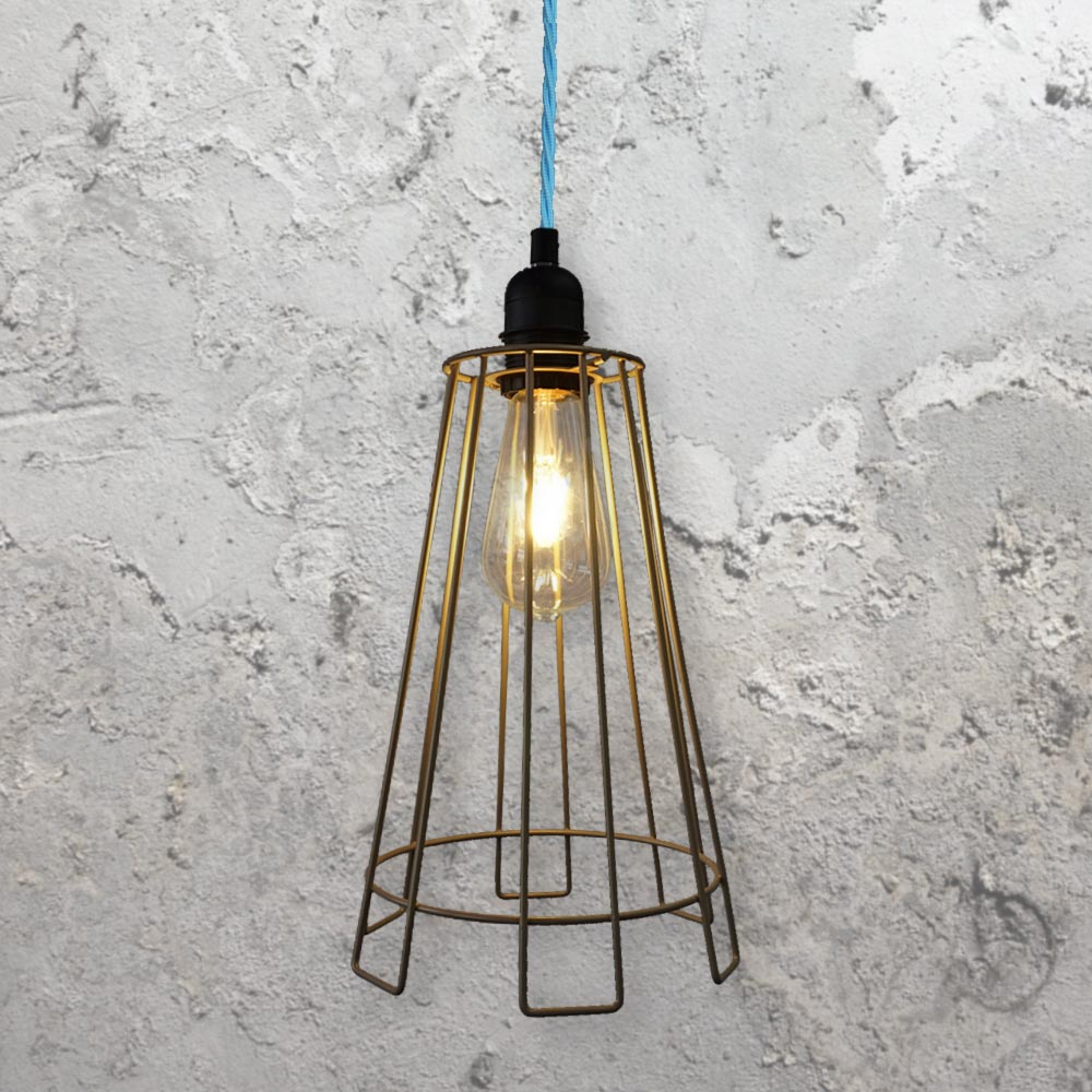 Cage Light Fitting Light Blue Clb 00522 E2 Contract Lighting