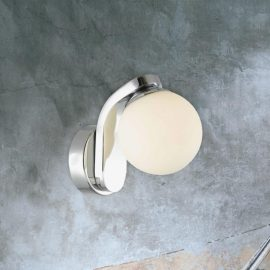 Chrome Opal Globe Wall Light
