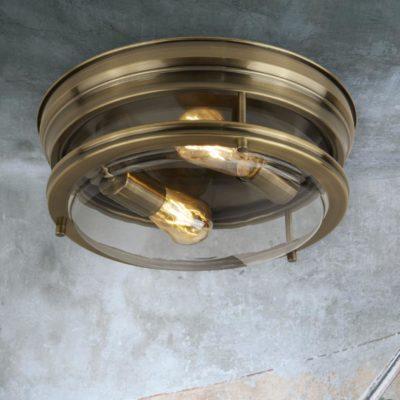Clear Glass Antique Brass Flush Light