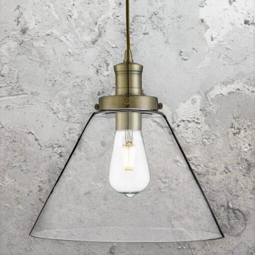 Antique Brass Clear Glass Cone Pendant Light