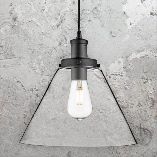 Matt Black Clear Glass Cone Pendant Light