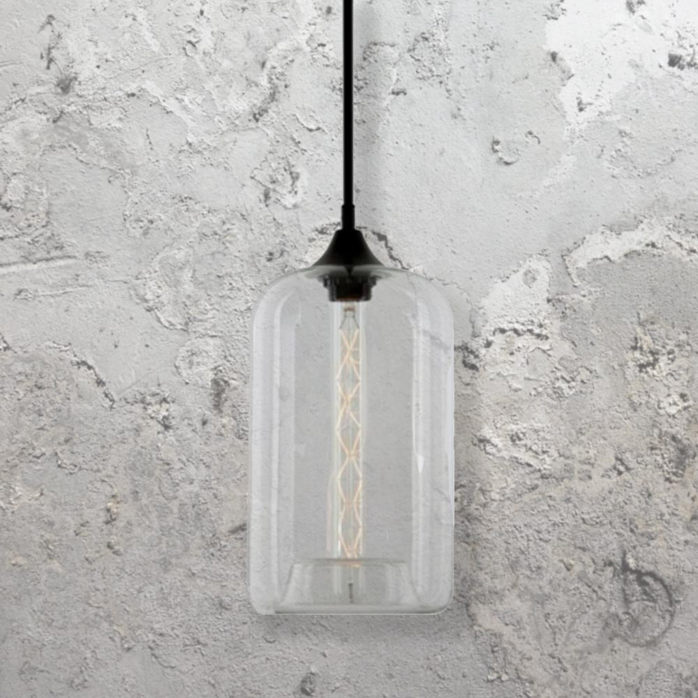 Clear Glass Cylinder Pendant Light CL 27955
