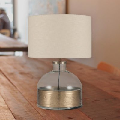 Clear Glass Hammered Brass Table Lamp Base