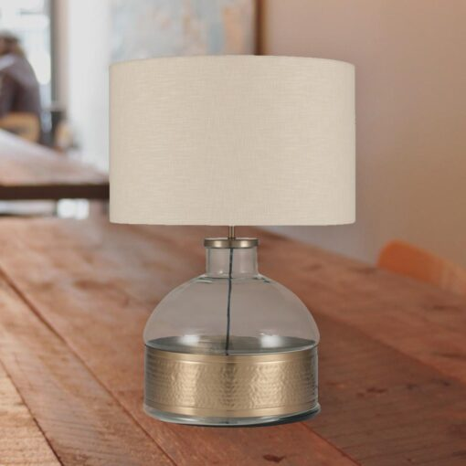 Clear Glass Hammered Brass Table Lamp E2 Contract Lighting Uk